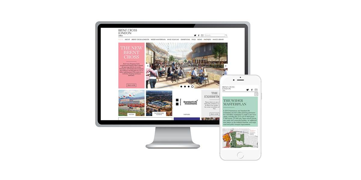 Brent Cross desktop and mobile website screens
