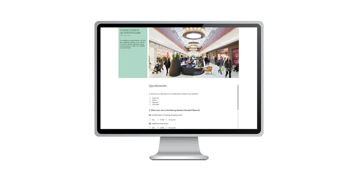 Brent Cross online questionnaire example