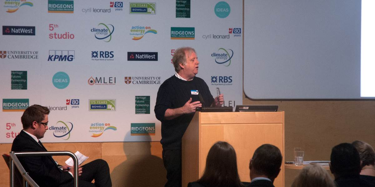 Doug Crawford-Brown speaking at a Cambridge Retrofit event