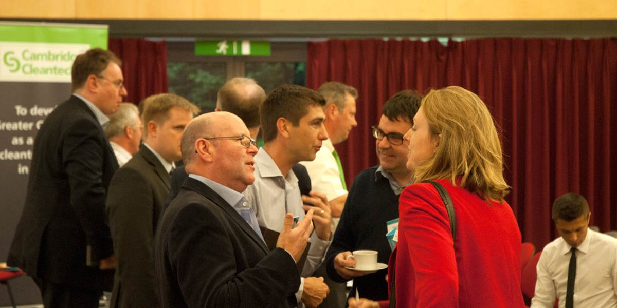 Group of people in discussions at a Cambridge Retrofit event