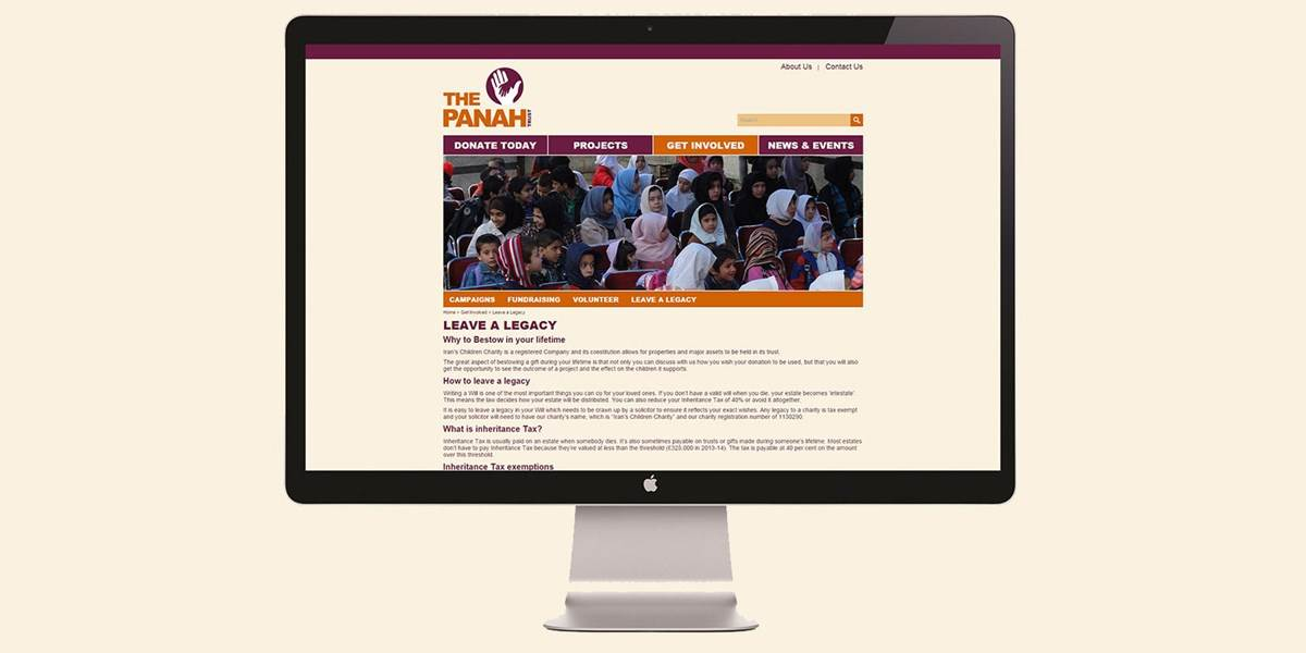 Panah Trust legacy page on website