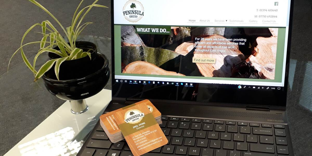 The new Peninsula Forestry logo looking great on the website and on the new business cards