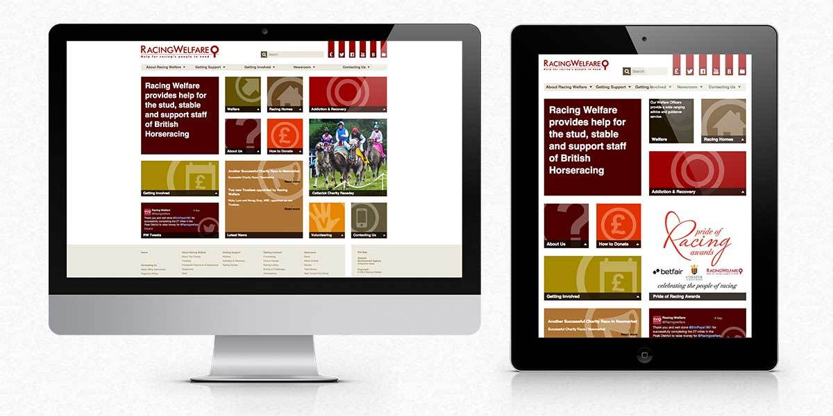Racing Welfare website screens