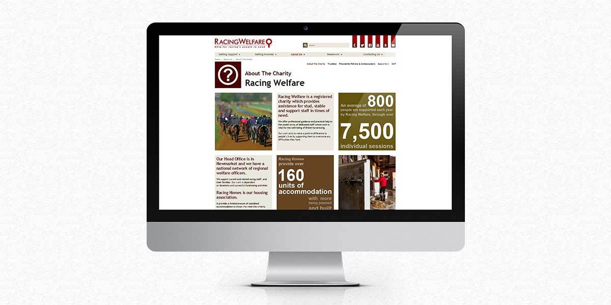 Racing Welfare About the Charity website screen
