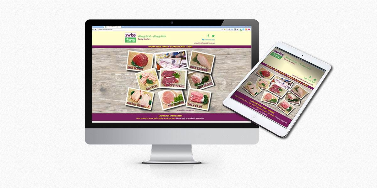 Swiss Farm Butchers desktop and tablet screen