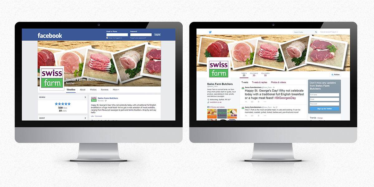 Swiss Farm Butchers desktop social media screens